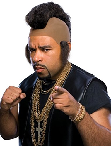 Rubie's Mr. Hammer Mohawk and Sideburns Wig, Black, One Size