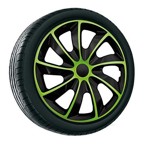 """4x Radzierblenden 17 Zoll grün QUAD NRM, 4er Set Radkappen 17\"""" grüne Radblenden"""