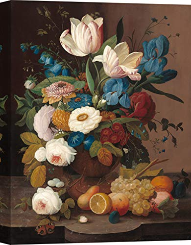 Art Print Cafe – Decoration Murale, Tableau de Severin Roesen, Nature Morte, Fleurs et Fruits – Impression sur Toile 60x40 cm