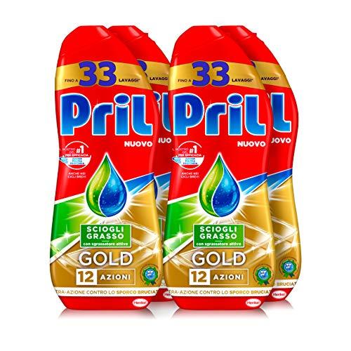 Pril Gold Gel lavastoviglie Sciogli Grasso, Detersivo lavastoviglie con sgrassatore attivo, 132 lavaggi, 4 x 600 ml