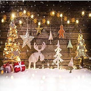 Dudaacvt 2,4 x 2,4 m Weihnachten Hintergründe Winter Schnee Fotografie Hintergrund Weihnachten Hirsch Bokeh Sterne Hintergründe Urlaub Kinder Foto Professionelle Fotografie Studio D215