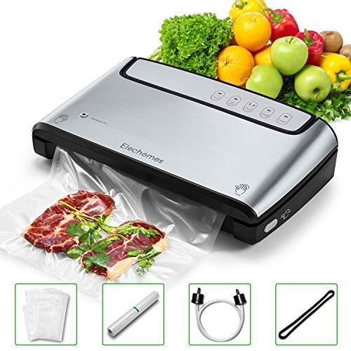 Elechomes Vacuum Sealer, Built-in Bag Storage and Cutter, 85KPA Powerful Suction Food Saver Machine, Dry and Moist Food Preservation with Bags and Rolls Starter Kit, Sous Vide Cooking, Easy to Clean, Brushed Stainless Steel