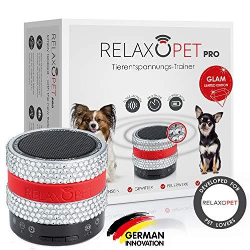 RelaxoPet PRO Glam Tierentspannungs-Trainer | Version 2020 | Für Hunde | Beruhigung durch Klangwellen | Ideal bei Gewitter, Alleinsein oder auf Reisen | Hörbar und unhörbar