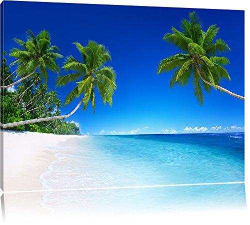 Palmen über dem Meer Format: 120x80 auf Leinwand, XXL riesige Bilder fertig gerahmt mit Keilrahmen, Kunstdruck auf Wandbild mit Rahmen, günstiger als Gemälde oder Ölbild, kein Poster oder Plakat