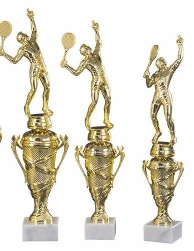 RaRu 3er-Serie Tennis-Pokale (Damen Oder Herren) mit Wunschgravur und 3 Tennis-Anstecknadeln (Sticker) (mit Herren-Figuren)