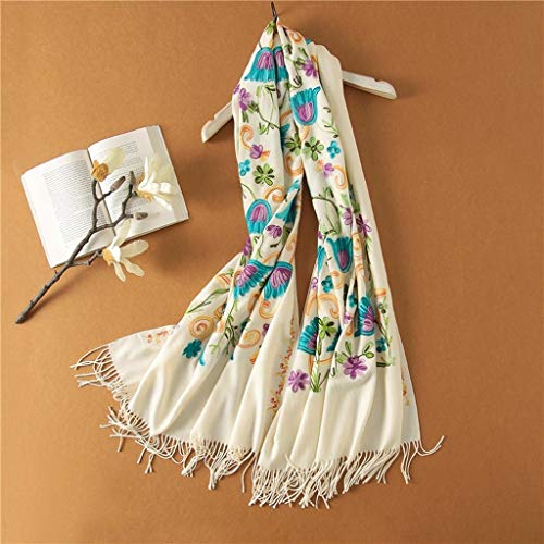 Etnische Stijl Geborduurde Lange Sjaal Vrouw Winter Hand Borduurwerk Bloemen Sjaal Dual Dikke Warmte Sjaal