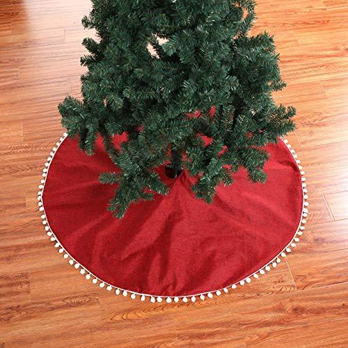 Choinka Spódnica 127cm / 50w Linen Drzewo Spódnica Boże Narodzenie Fartuch Dekoracji Na Wakacje Wystrój Home Decor,Red