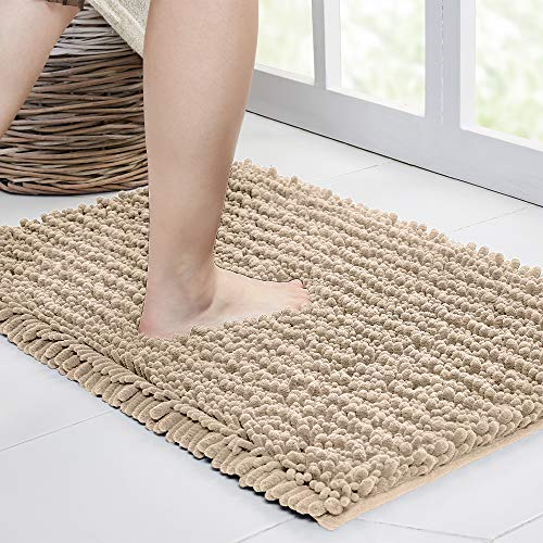 Walensee Bathroom Rug Non Slip Bath Mat (32x20 Inch Beige) Water Absorbent Super Soft Shaggy Chenille Machine Washable Dry Extra Thick Perfect Absorbant Best Large Plush Carpet for Shower Floor