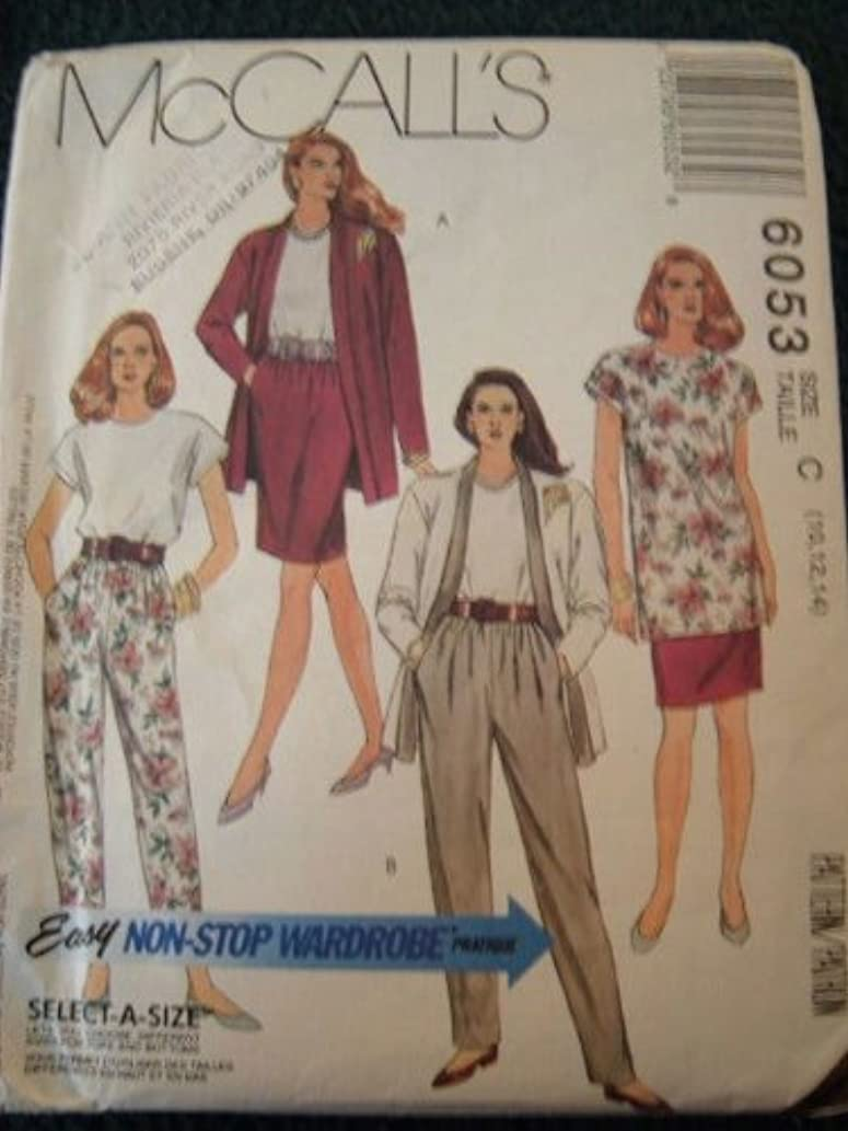 MISSES UNLINED CARDIGAN, TUNIC OR TOP, SKIRT AND PANTS IN TWO LENGTHS SIZE 10-12-14 EASY NON STOP WARDROBE - SELECT A SIZE MCCALLS SEWING PATTERN #6053