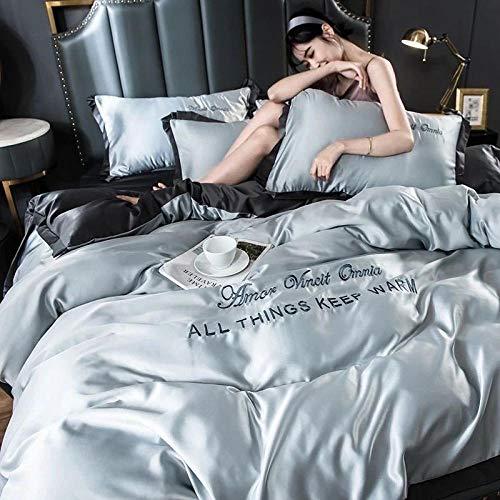 Juego de ropa de cama con funda de edredón,La seda de hielo de verano es ropa de cama para dormir, funda de cama de cuatro piezas, color sólido, edredón doble individual-C_Cama de 1,5 m (4 piezas)