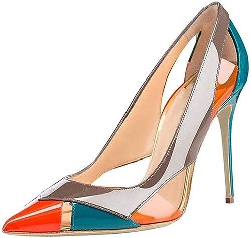 WJFGGXHK Talons Hauts Femmes Pompes Bout Pointu Couture Chaussures Chaussures Partie Peu Profonde Femme Chaussures Femme Plus La Taille 45