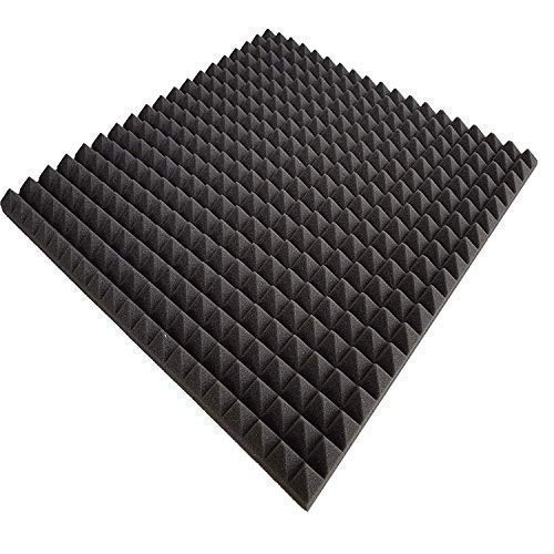 Lulushop Pyramiden-Schaumstoff-Daemmung-Platten Isolatieschuim Zelfklevend Akoestisch Flammhemend PC ca.100 x 50 x 3 cm Antraciet/Zwart