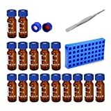 Autosampler Vials with Writing Area 9-425 Amber, 9mm Blue Cap with Red PTFE White Silicone...