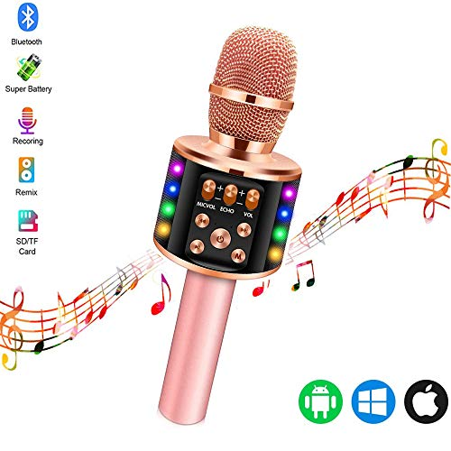 Karaoke Mikrofon Kinder, Tragbares 4 in 1 Mikrofon Kinder mit Aufnahmefunktion und LED-Leuchten, Home Party Karaoke Dynamische Bluetooth Mikrofone für Android/iOS