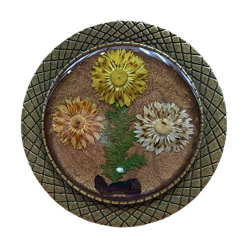 El Mundo de Lúa by Anamae - Broche Mujer de Oro Viejo Tres Girasoles Flores Secas y Resina, Hecho a Mano