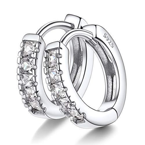 14mm pendientes aros plata con cristales, pendientes hipoalergenicos mujer hombre