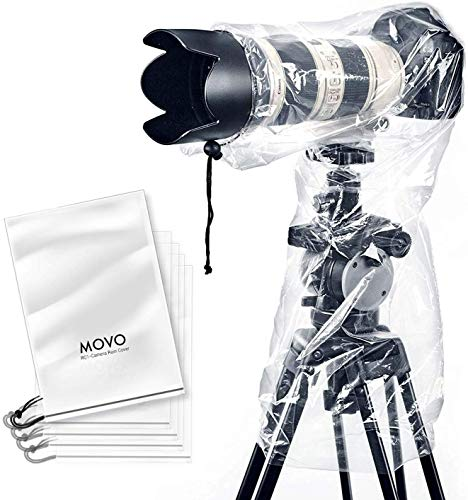 Movo (5 Pack) RC1 Clear Rain Cover for DSLR Camera and Lens up to 18
