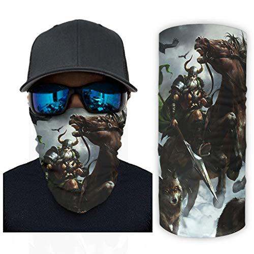 CCMugshop Pañuelo para la cara vikingo Odin Krieger Speer Rabe Wolf Print Headband Scarf UV Residence White One Size