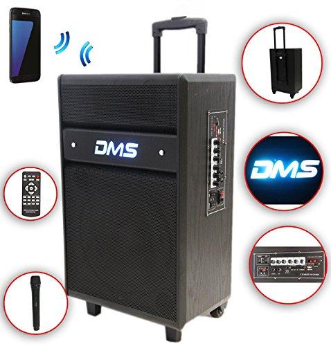 Karaoke Anlage mobile PA Lautsprecherbox Trolley S USB SD MP3 Wireless LED DMS®