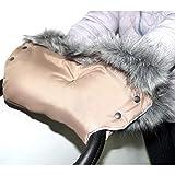 Baby-Joy Muff mit Kunstfell Flauschiger Handwärmer Handschutz Kinderwagenhandschuh Schlittenhandschuh (MF6-1405   Beige-Creme)