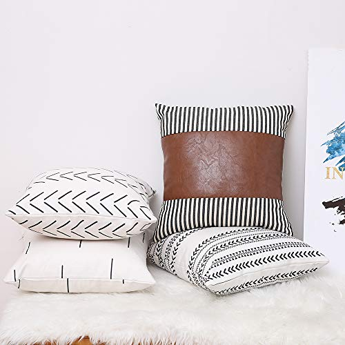 Kiuree Set of 4 Boho Throw Pillow Cover 18x18 inch Stripe Faux Leather Accent Pillow Thick Linen Decorative Cushion Covers for Couch Sofa Modern Farmhouse Decor