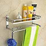 Save Floor Space: Multifunctional towel shelf, Wall-mounted design, the top shelf holds your toiletries and bath products while the hooks below can hang towels, bathrobes and more. bedrooms, bathrooms, and closets. Selected material: high-quality sta...