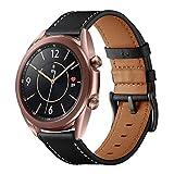 Kartice Compatible with Huami Amazfit Bip バンド 20mm高級ソフトレザー製バンド 精密制作 交換ベルド Galaxy Watch Active 40mm/Galaxy Watch 42mm/TicWatch C2/ 2/TicWatch E/SUUNTO 3 FITNESS通用交換ストラップ (ブラック)