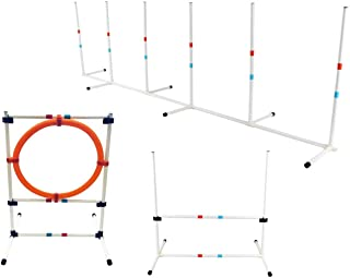 Midlee Dog Agility Beginner Set- Hoop Jump, Weave Poles, and Bar Jump