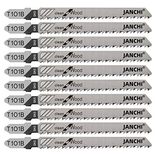50Pack T101B T-Shank Contractor Jig Saw Blades - 4 Inch 10 TPI Jigsaw Blades Set- Made for High Speed Carbon Steel, Clean and Precise Straight Cutting Wood Boards PVC Plastic