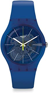 Swatch New Gent Lacquered Swiss Quartz Silicone Strap, Blue, 20 Casual Watch (Model: SUON142)