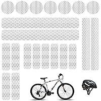 Pegatinas reflectantes adhesivas luminosas cinta reflectante blanco adhesivo impermeables reflectantes, para cascos de bicicleta, coche, moto, cochecitos, etc. (21 unidades)