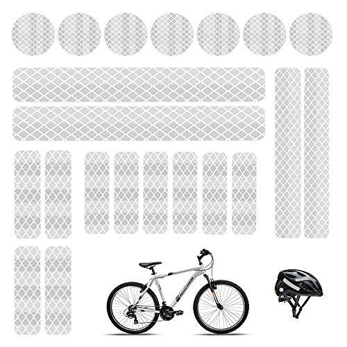 Adhesivos reflectantes reflectante adhesivos luminosos cinta reflectante blanca adhesiva adhesiva adhesiva reflectante para cascos de bicicleta, coche, moto, cochecitos, etc. (21 unidades)