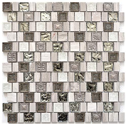 Mozaïek tegel hars keramiek grijswit glasmozaïek kristal steen hars tegelspiegel THEKENVERKOLEIDING badkuip kleding mozaïekmat mozaïekplaat | 10 mozaïekmatten