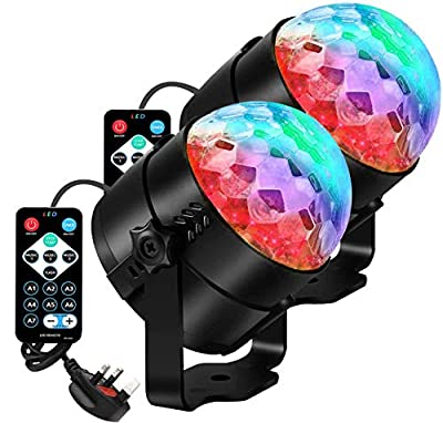 AOMEES Disco Light, Disco Ball for Kids Rotating for birthday Party Pub Disco Home Outdoor 2 Pack