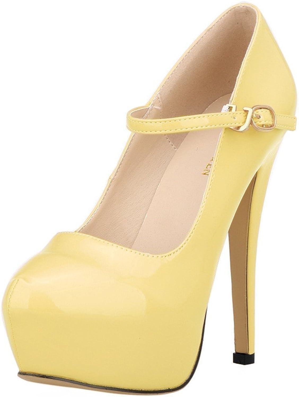 Sothingoodly Pretty Women's PU Leather Buckle High Heels Nightclub Platform Pumps