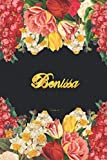 Benissa Notebook: Lined Notebook / Journal with Personalized Name, & Monogram initial B on the Back Cover, Floral cover, Gift for Girls & Women