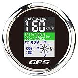 Tacómetro Universal Tacho Gauge, 85 Mm IP67 Impermeable GPS Speedometer Antena TFT Pantalla TFT, Acumulación De Exhibición De Azimut De Kilometraje Para Barcos Yate De Motor De Automóviles,Negro