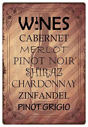 Metalen bord 20 x 30 cm gebogen Wines Cabernet Merlot wijn wijnranken decoratief geschenk bord