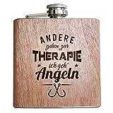 Pixelstudio Angler Holz Flachmann Andere gehen zur Therapie, ich GEH' Angeln. Geschenk Idee für...