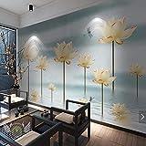 Qqasd 3D Wasserlilie Blume Libelle Tapete Fototapete Wasserdichte Tapeten Flores Rustikale Wanddekor Blume Wandbilder-200X140CM