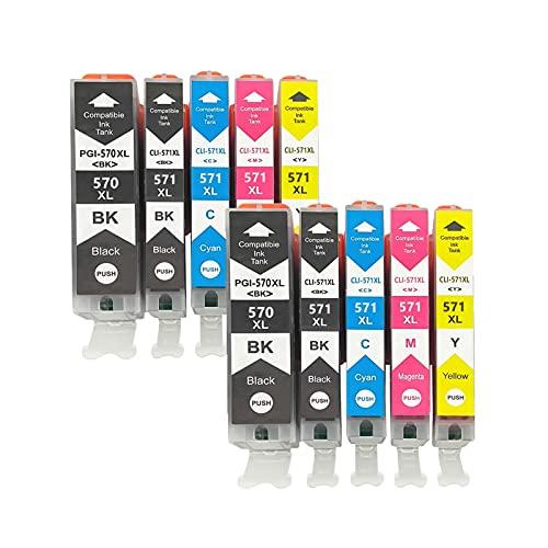 RICR Reemplazo de Cartucho de Tinta remanufacturado para Canon PGI-570 CLI-571 para Usar con PIXMA MG5750 5751 5752 5753 6850 6851 6852 6853 7750 7751ts6050 6051 6052 505 Two Sets
