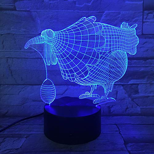 Lamp Optical Illusion 7 Colorful Table Lamp Chicken Egg Led Night Light Engraved Acrylic Nightlight Crafts Kids 3D