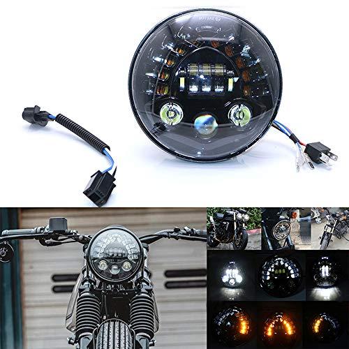 JZWDMD 7 Zoll LED Runde Scheinwerfer Wasserdichter Angel Eye Ring DRL & Bernsteinfarbener Blinker H/L-Strahl für Wrangler Harley Davidson