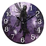 Ernest Congreve Wall Clock Fairies Silent Non Ticking Round Circle Digital Clocks Quartz Battery Operated Round Circle Easy to Read for Home/Office/School Clock Decor 10 inch