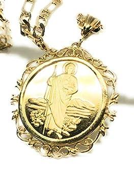 Saint Jude Pendant Necklace Figaro 26  San Judas Tadeo Virgen Centenario Medalla Oro Laminado
