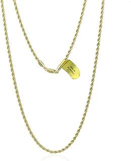 سلسلة ذهبية قلادة للنساء والرجال، سلسلة حبل فرنسية 2.5 مم مطلية بالذهب الأصفر عيار 14 قيراط ، 18-20 بوصة
