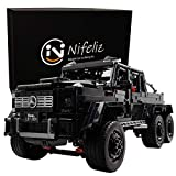 Nifeliz Black Pickup G63 6X6 MOC Building Blocks and Engineering Toy, Adult Collectible Model Cars Kits to Build, 1:8 Scale Truck Model (3300 Pieces)
