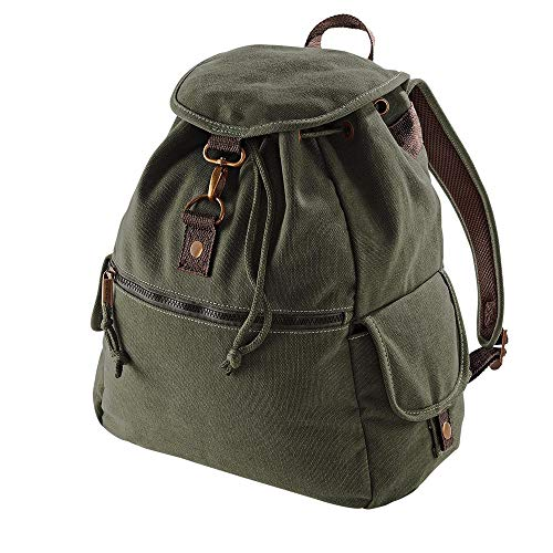 Quadra QD6Age 1-2 Vintage Canvas Backpack - Military Green QD612 Blank Plain