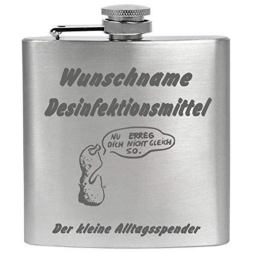 Flachmann mit Gravur Name Desinfektionsmittel Der Kleine Spender 6 oz Edelstahl Metall Individueller Wunschname Wunschgravur mit Namen, Silber