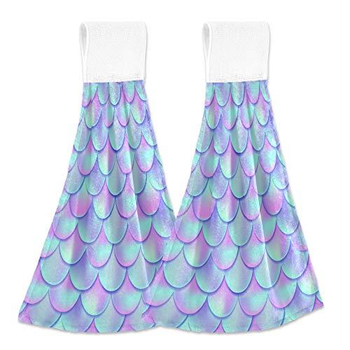xigua Toallas secas a mano, juego de 2, hermosas escamas de peces de sirena, suaves y absorbentes, toallas colgantes con cinta mágica para cocina, cuarto de baño, lavandería 30,5 x 43,2 cm